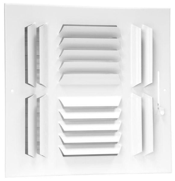 """10"""" x 10"""" Steel 4-Way Register - Bright White, Multi-Shutter Damper with Metal Lever, Stamped Curved Blade"""