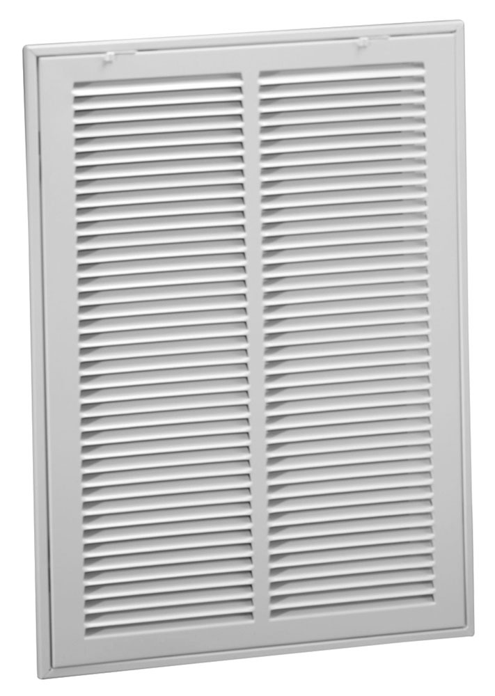 "25"" x 16"" Bright White Steel Return Air Filter Grille - 1/2"" Fin Spacing"
