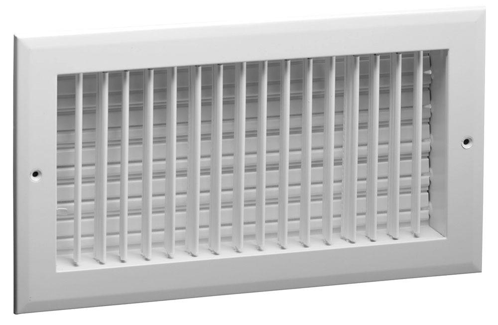 """10"""" x 6"""" Aluminum Single Register - Bright White, Multi-Shutter Damper, Straight Blade, Vertical Fin"""