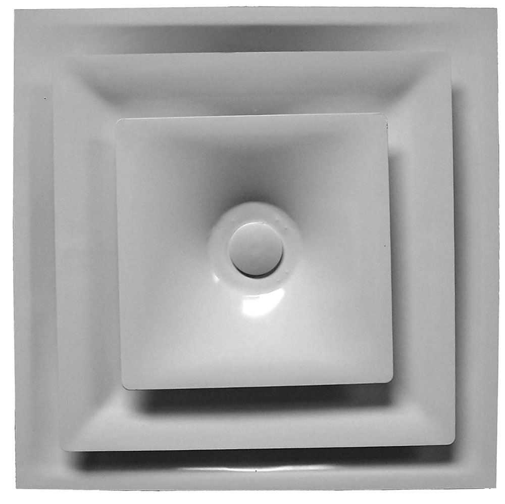 """12"""" Steel 4-Way Fixed Pattern Duct Diffuser - Bright White, 2-Cone Core"""