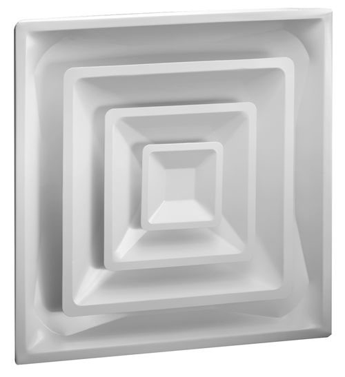 "6"" Steel 4-Way Fixed Pattern Duct Diffuser - Bright White, 3-Cone Core"