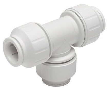 "3/4"" White Cross-Linked Polyethylene Straight Tee - Speedfit, CTS Push-Fit, Union"