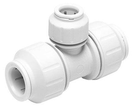 "3/4"" x 3/4"" x 1/2"" White Cross-Linked Polyethylene Reducing Tee - Speedfit, CTS Push-Fit"