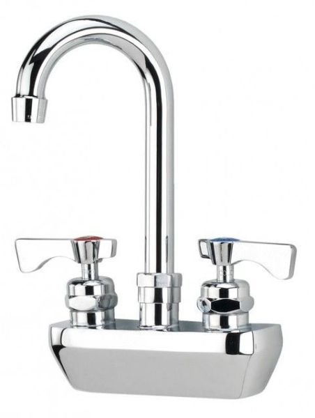 Kitchen Faucet with Gooseneck Spout & Two Blade Handle - Royal Series, Polished Nickel Chromium, Wall Mount, 2 GPM