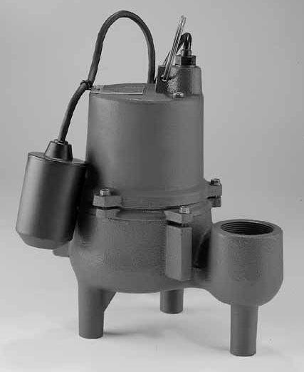 4/10 HP Automatic Sewage Pump - Series SRM4, Cast Iron, 95 GPM, 115 VAC