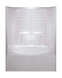 1-Piece Residential Whirlpool Tub and Shower Module - AcrylX, White