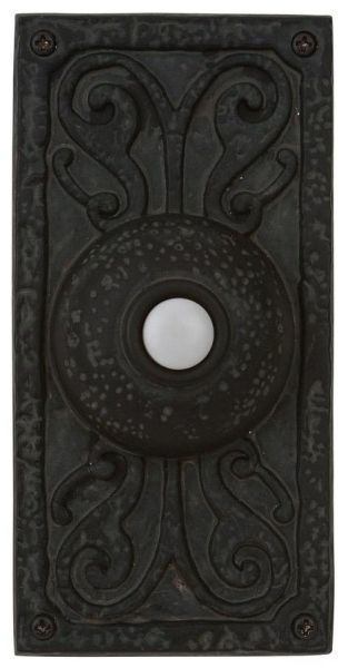 "2.625"" x 1"" x 5.25"" Surface Mount Designer Door Bell Pushbutton - Teiber, LED Base, Weathered Black"