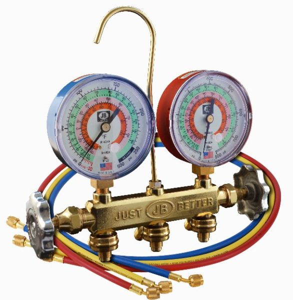 "2-Valve Manifold - PATRIOT, with Three 60"" CCLE Kobra Hose, 3-1/8"" Gauge, Brass"