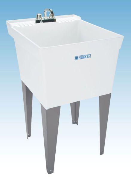 Floor Mount Laundry Sink - UTILATUB / UTILATWIN, 18 Gallon, White, Thermoplastic