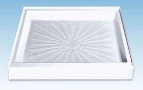1-Piece Single Threshold Square Shower Base, Molded Fiberglass