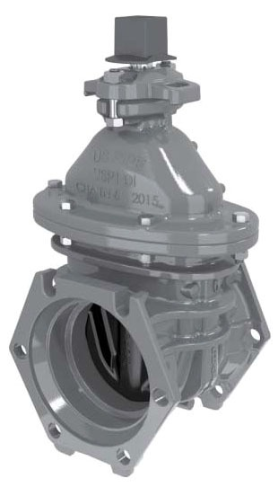 """10"""" Epoxy Coated Ductile Iron Resilient Wedge Gate Valve - Operating Nut, Mechanical Joint, 250 psi"""