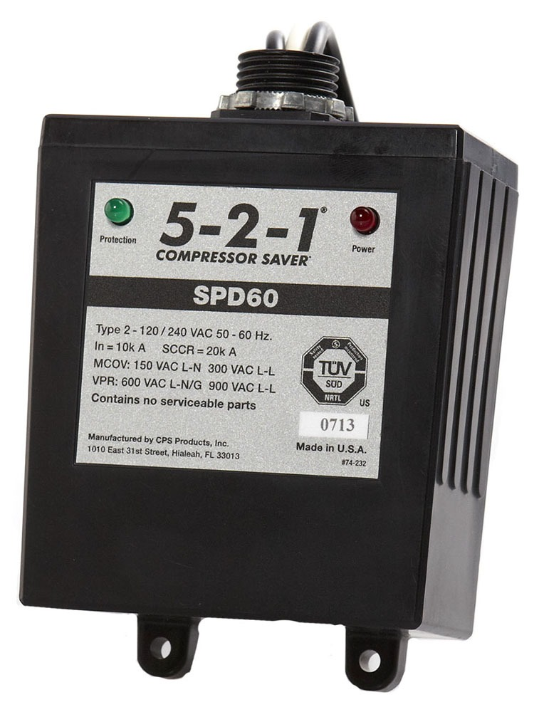 60000 A 1-Phase Surge Protector - 5-2-1 Compressor Saver, 120/240 VAC, ABS