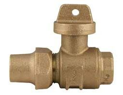 "1"" Copper Flare/Threaded Curb Stop, Brass"