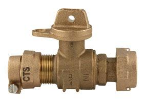 CTS Grip Joint/Meter Swivel Nut Meter Valve, Lead-Free Brass