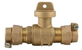 """3/4"""" CTS Grip Joint/PVC Pack Joint Curb Stop, Brass"""