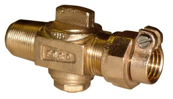 "1"" Threaded/CTS Grip Joint Corporation Stop Valve, Brass"
