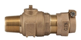 """1-1/2"""" Ball Corporation Stop - CC x CTS Quick Joint, 300 PSI, Brass, Lead-Free"""