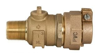 "1"" Threaded/PVC Pack Joint Corporation Stop Valve, Brass"
