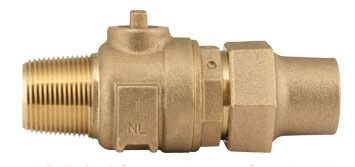 "1"" Threaded/Copper Flare Corporation Stop Valve, Brass"