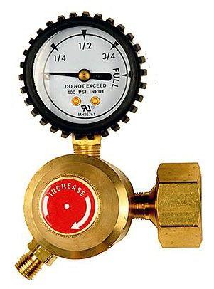 "3/8""-24 TPI Left Hand Air Acetylene Welding Regulator - B-Cylinder Connection"