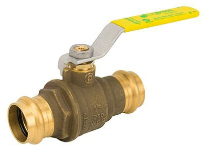 "1"" DZR Brass Full Port Ball Valve - Lever Handle, Press, 250 psi WOG"