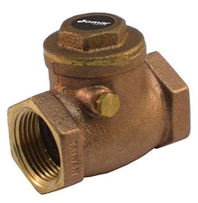 """1-1/4"""" Cast Brass Swing Check Valve - FPT, 200 psi WOG, 125 psi SWP"""