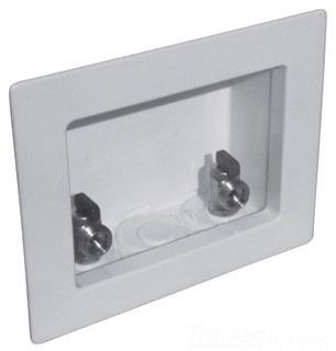 Center White Washing Machine Outlet Box - Specialty Products / Switch Hitter, with Uponor Propex Valve, High Impact Plastic, Top Mount