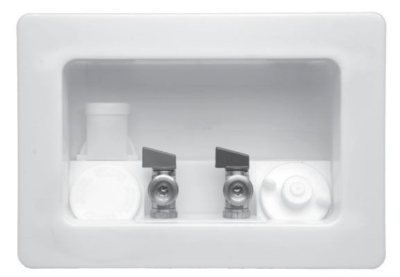 Assembled White Washing Machine Outlet Box - Specialty Products / Kahuna, with CPVC Valve, High Impact Plastic
