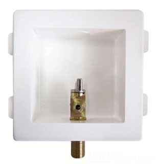 """Assembled White Ice Maker Outlet Box - Specialty Products, with 1/2"""" Uponor Propex x 1/4"""" Compression Valve, High Impact Plastic"""