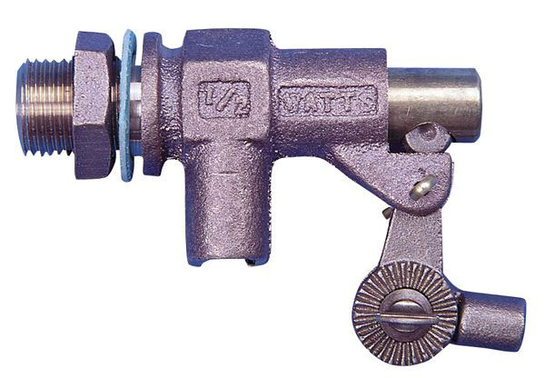 "1-1/2"" Bronze Heavy Duty Mechanical Float Valve - Lever Handle, FPT x MPT, 165 psi"