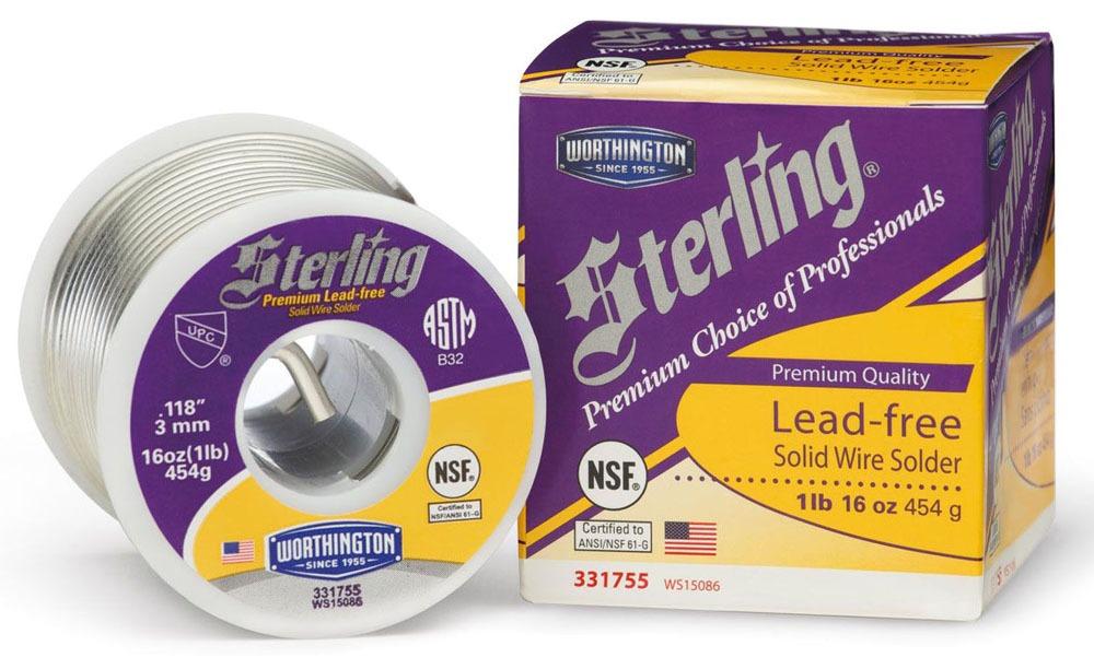 "Solder Wire - Sterling, 0.118"" Dia, 410 Deg F"