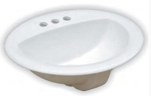 """20-1/2"""" x 17-1/8"""" Drop-In Mount Bathroom Sink - 3-Hole, White, Vitreous China"""
