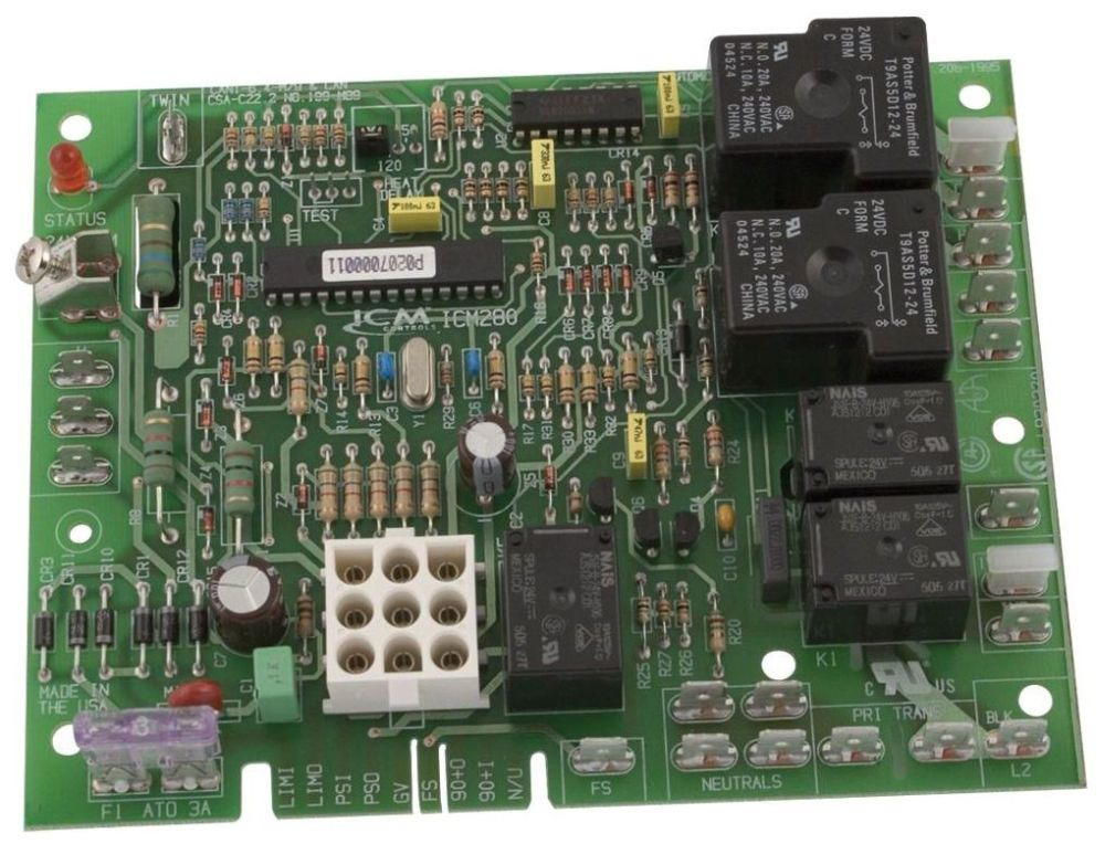 98 to 132 VAC Furnace Control Board - 5 A at 120 VAC Igniter, 2 HP at 240 VAC Fan, 7 A at 250 VAC Inducer Motor, 1 A at 24 VAC Gas Valve