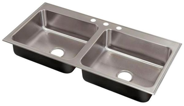 """33"""" x 22"""" Drop-In Mount Double-Equal Bowl Kitchen Sink - Grip-Rim Plus, Polished Satin Blended, Stainless Steel"""