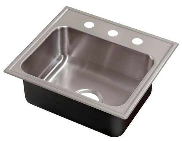 """21"""" x 19"""" Drop-In Mount Single Bowl Kitchen Sink - Grip-Rim Plus, Polished Satin Blended, Stainless Steel"""
