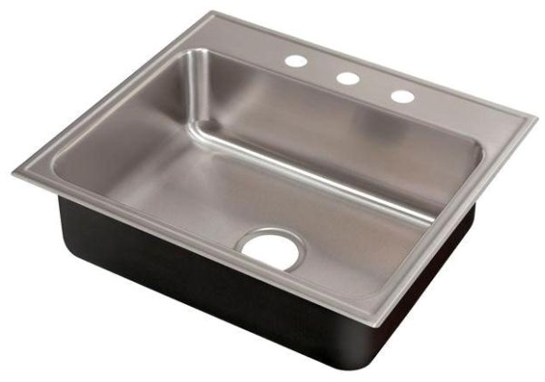 "25"" x 21"" Drop-In Mount Single Bowl Kitchen Sink - Grip-Rim Plus, Polished Satin Blended, Stainless Steel"