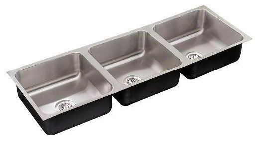 """48"""" x 18"""" Undermount Triple-Equal Bowl Kitchen Sink - Polished Satin Blended, Stainless Steel"""