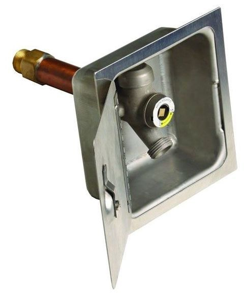 """1/2"""" or 3/4"""" x 3/4"""" Nickel Plated Bronze Wall Hydrant - 10"""" Wall Thickness, 1/4 Turn T-Handle Key, FPT / MPT x MHT"""
