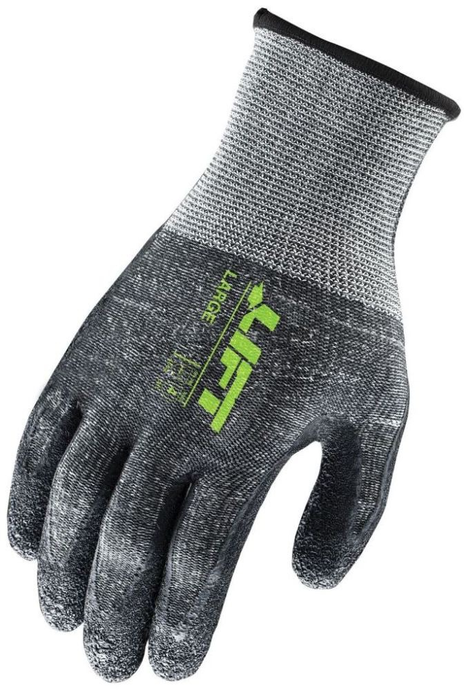 Large Gray / Black Gloves - Workman, Latex Palm / Crinkled