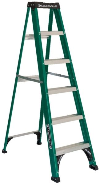 6' Fiberglass Step Ladder - 225 Lb, Type II, Green and Black