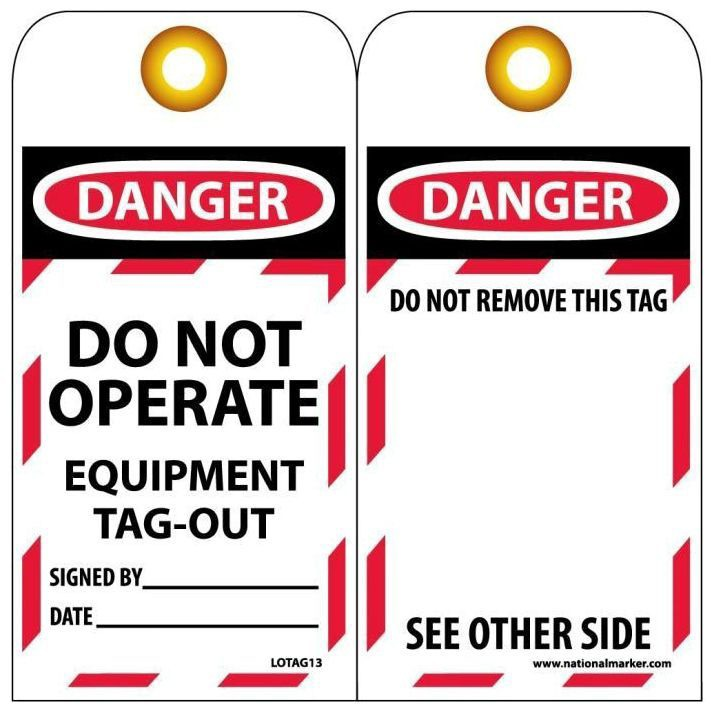 DANGER DO NOT OPERATE Safety Tag, Unrippable Vinyl