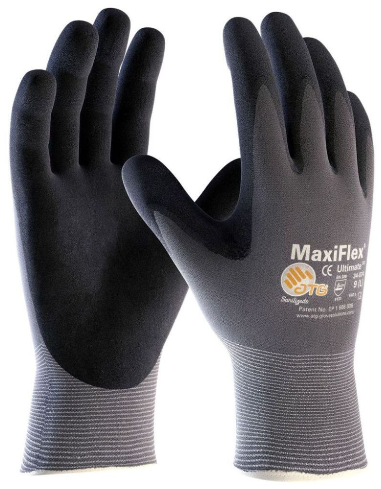 X-Large Gray / Black Gloves - MaxiFlex, Ultimate, Seamless Nylon / Micro Foam Nitrile Coated