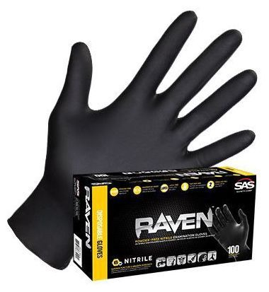 Small Disposable Gloves - Raven, Nitrile / Textured