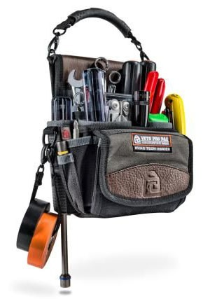 Vertical Electrical Tape Strap Tool Bag, Leather Trim Panel