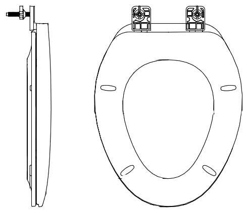 Elongated Toilet Seat - Closed Front with Cover, Solid Plastic