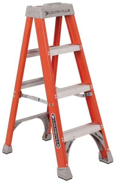 4' Fiberglass Step Ladder - 300 Lb, Type IA, Red and Silver