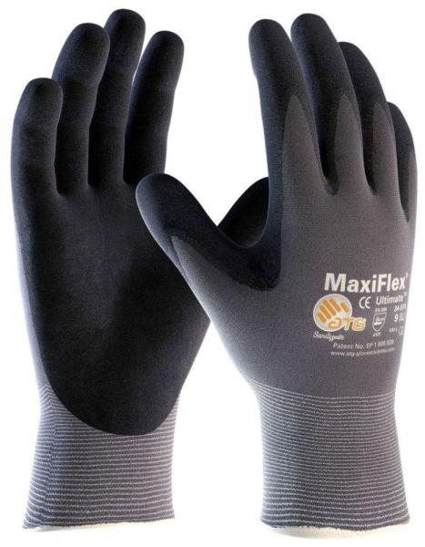 Large Gray / Black Gloves - MaxiFlex, Ultimate, Seamless Nylon / Micro Foam Nitrile Coated