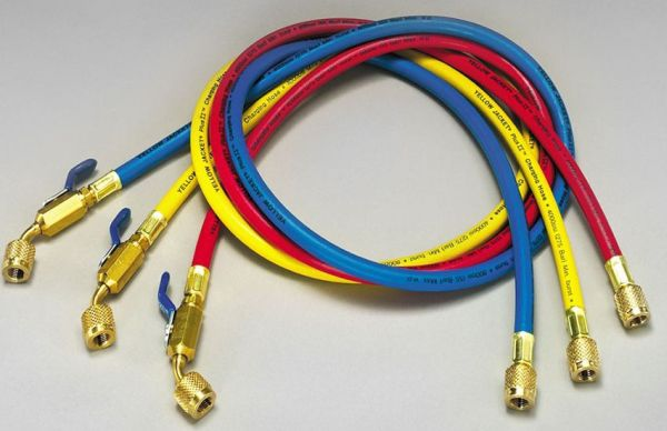 "1/4"" Yellow / Blue / Red Charging Hose with Compact Ball Valve End - PLUS II"
