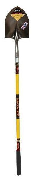 """48"""" Yellow Fiberglass Handle #2 Round Point Shovel - Structron / S700 SpringFlex, Rear Rolled Step, 8.81"""" x 11.5"""" Blade"""