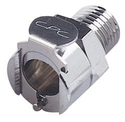 """LCD10004BSPT 1/4"""", BSPT, 1.15"""" L, 250 PSI, Chrome Plated, Brass, Shut-Off/Valved/In-Line, Coupling Body"""